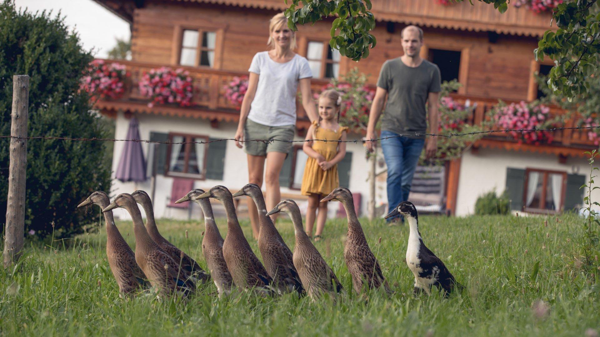 Familie auf dem Bauernhof, © Hansi Heckmair