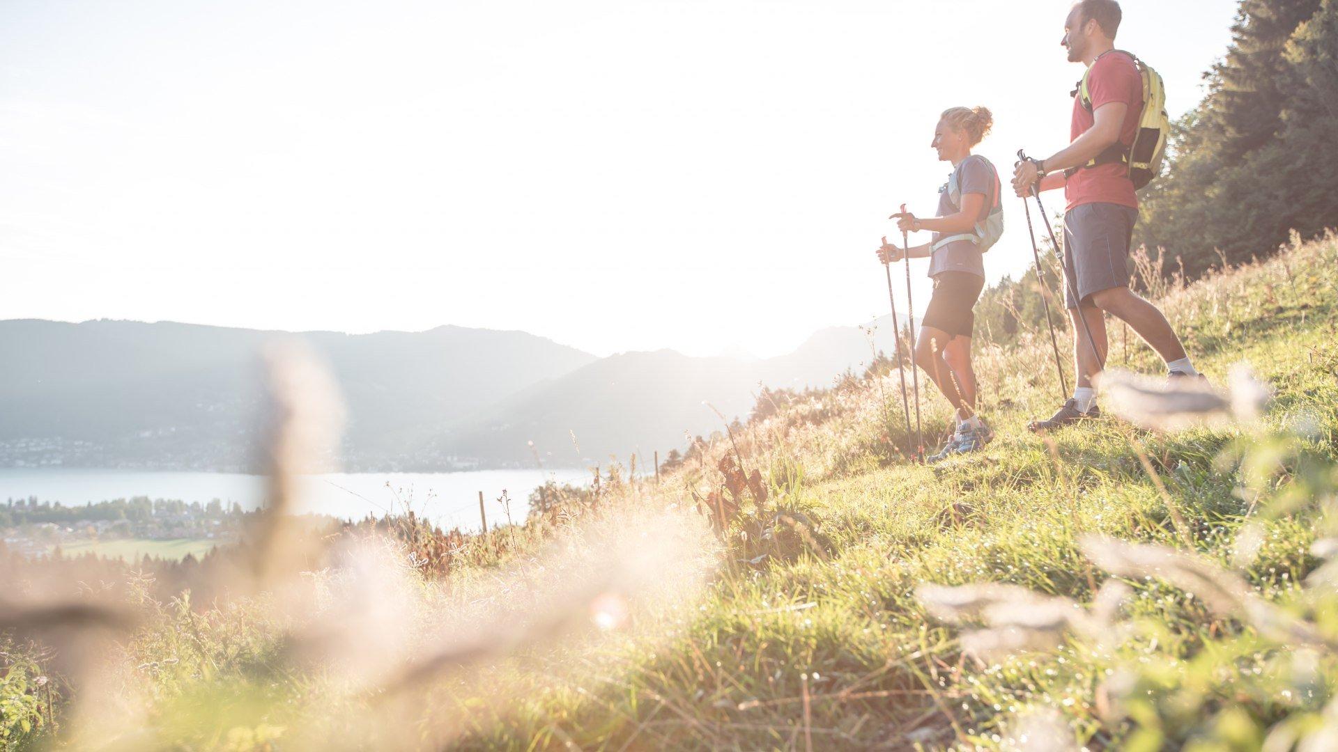 Die Aussichten beim Nordich Walking am Tegernsee sind oftmals spektakulär., © Hansi Heckmair