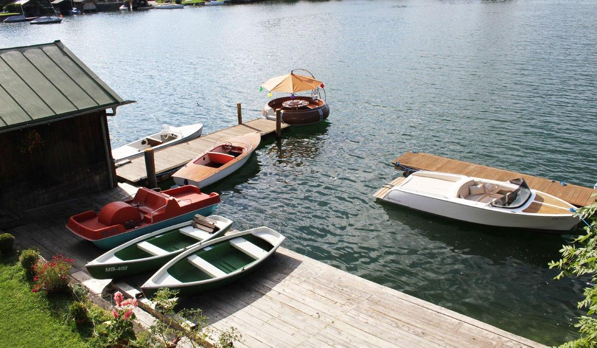 Blick auf den Bootsverleih