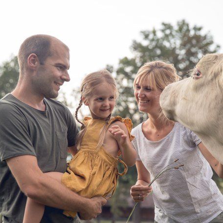 Familie streichelt Kuh, © Hansi Heckmair